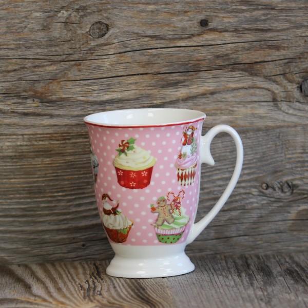 Kaffeebecher Weihnachtsbäckerei rosa