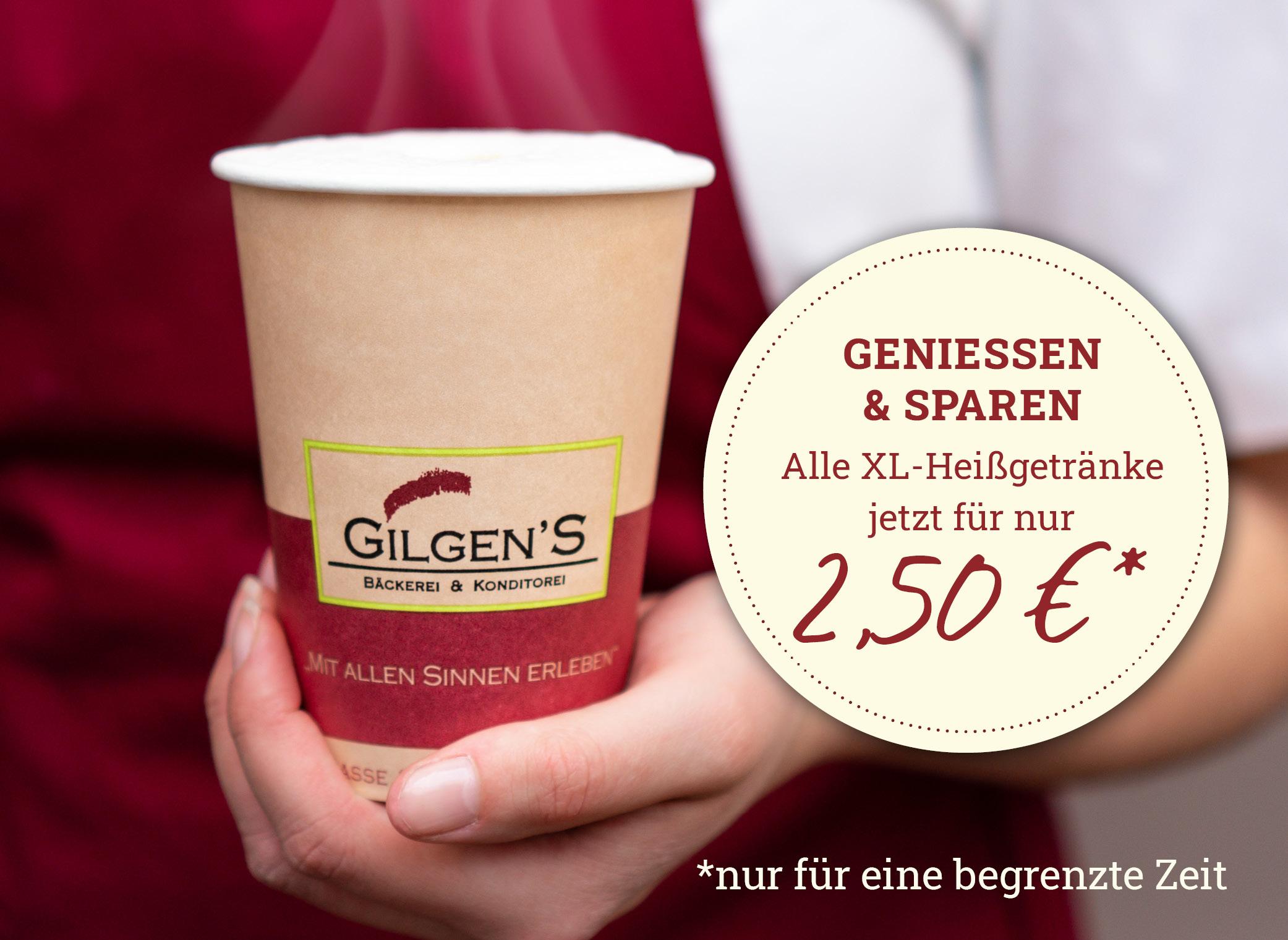 Heißgetränke XL für 2,50€